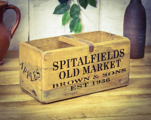 Medium Vintage Box Spitalfields Market Apples & Pears